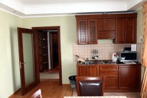 Индивидуальная кухня со встроенной бытовой техникой в апартаментах